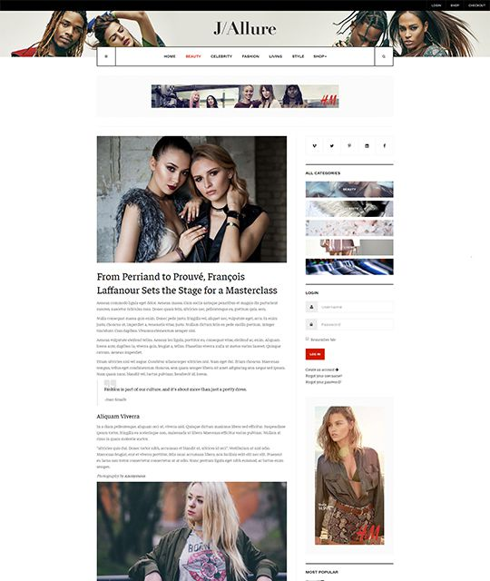Fashion magazine Joomla template article page layout - JA Allure