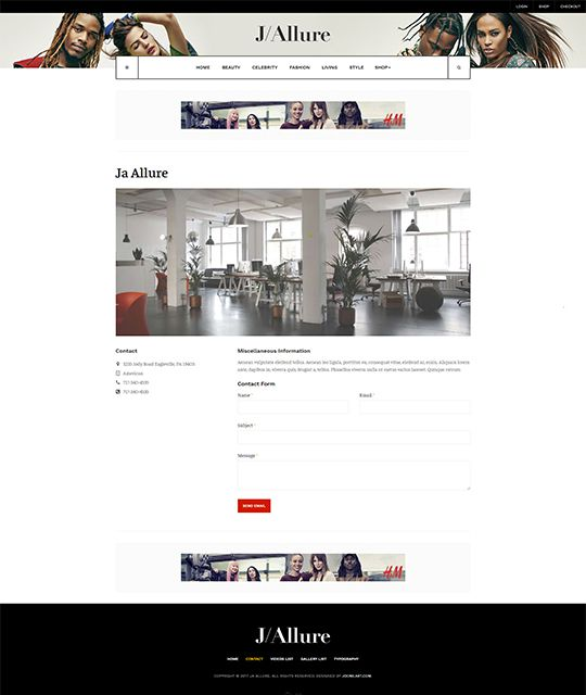 Fashion magazine Joomla template contact page layout - JA Allure