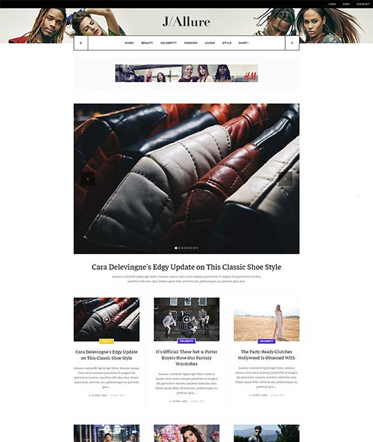 Fashion magazine Joomla template magazine category layout  - JA Allure