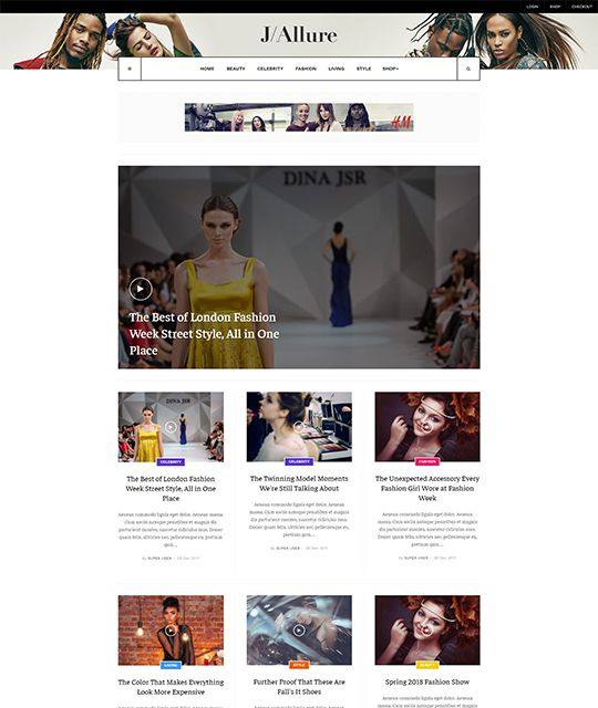 Fashion magazine Joomla template magazine layout 2  - JA Allure