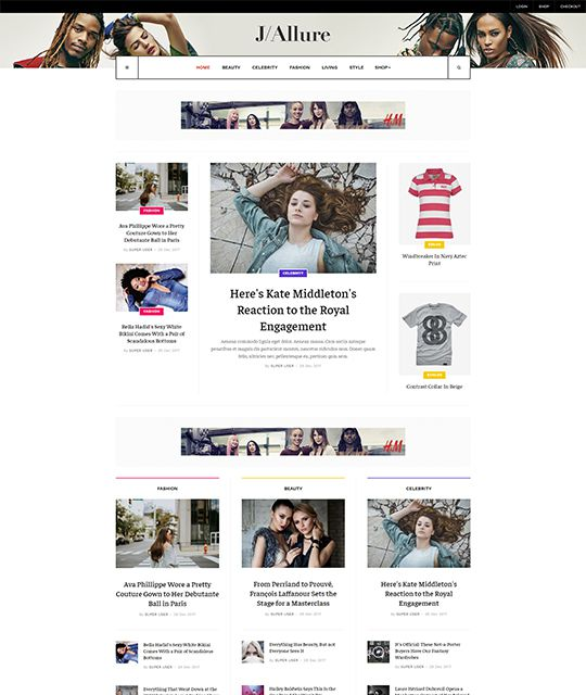 Ecommerce fashion beauty Joomla template magazine homepage - JA Allure
