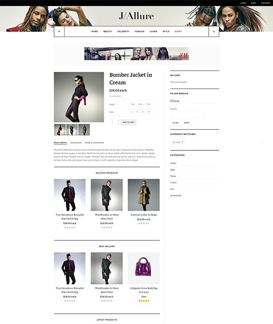Fashion magazine Joomla template shop layout 2 - JA Allure