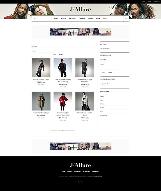 Fashion magazine Joomla template shop layout 1 - JA Allure