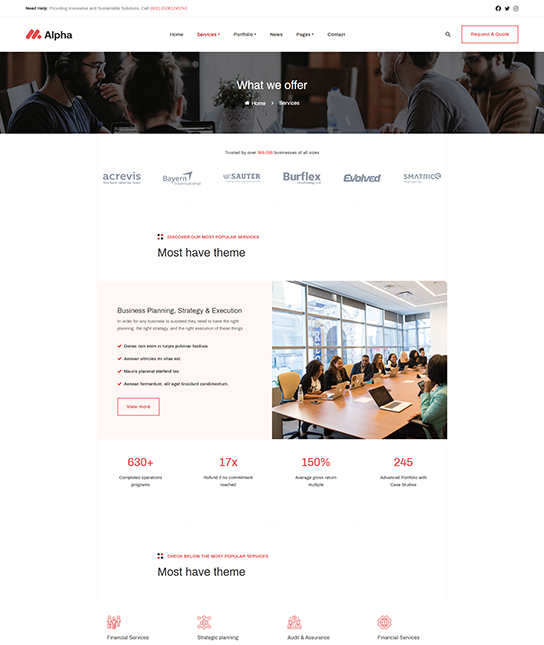 Joomla business services template for consulting - JA Alpha