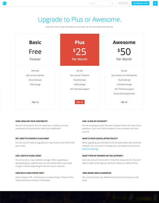 Portfolio Joomla template pricing page - JA Appolio
