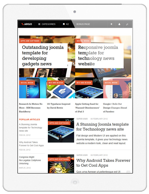 News and magazines Joomla template - JA Argo responsive magazine page