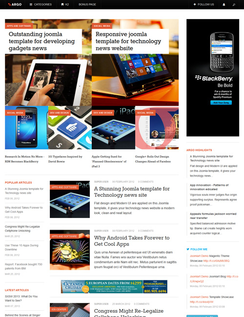 News and magazines Joomla template - JA Argo magazine page