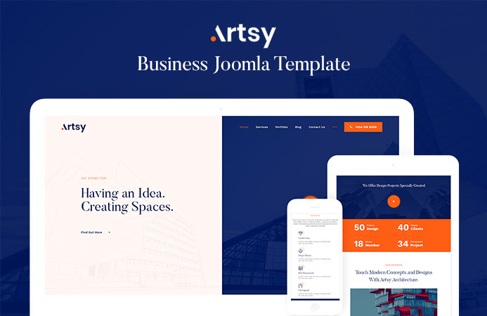 Review | Features : Architecture & Interior Design Joomla Template - JA Artsy