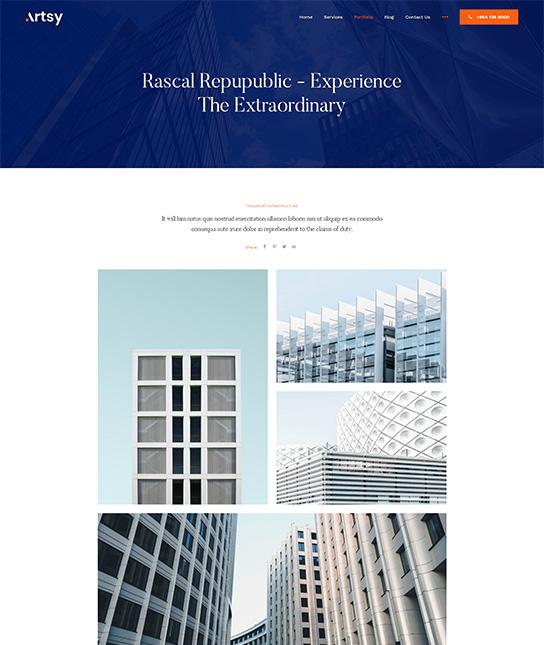 architecture portfolio joomla - JA Artsy