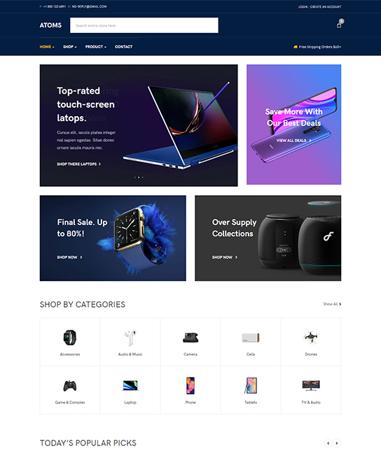 joomla ecommerce template - JA Atoms