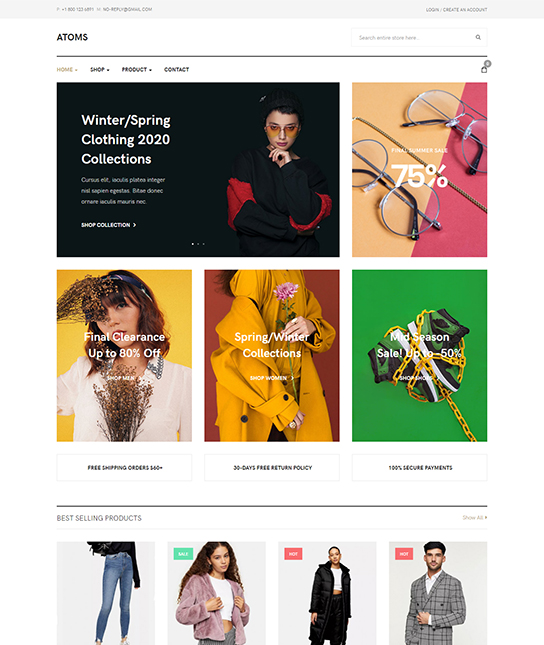 eCommerce Joomla template - JA Atoms