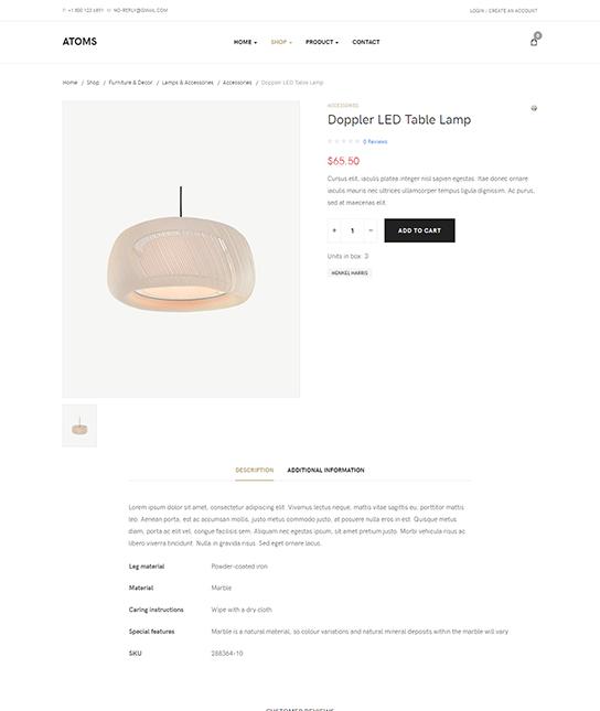 eCommerce joomla template product detail page - JA Atoms