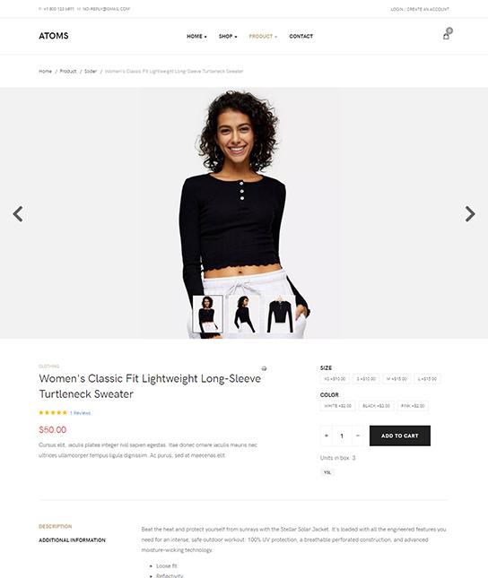 eCommerce joomla template product slider page - JA Atoms