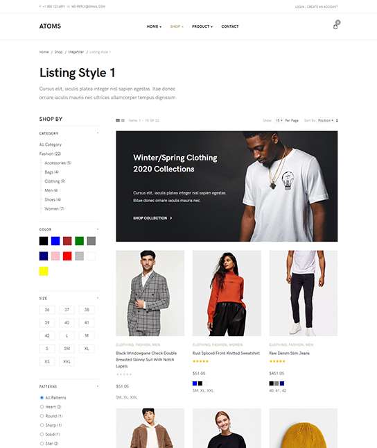 eCommerce joomla template product list page - JA Atoms