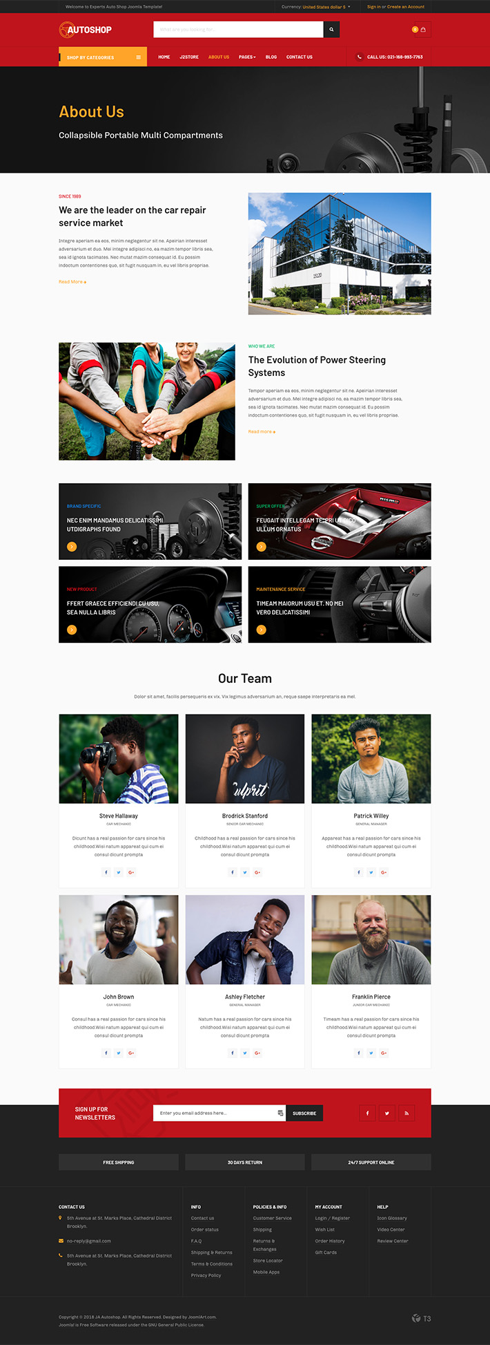 eCommerce Joomla template about us page