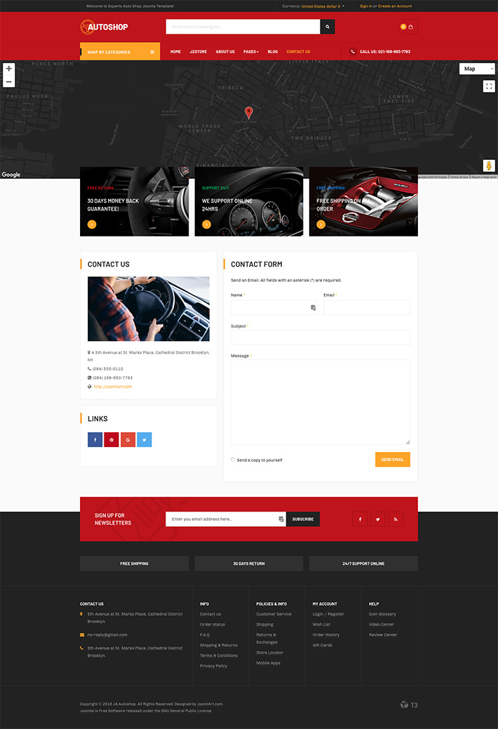 eCommerce Joomla template contact page