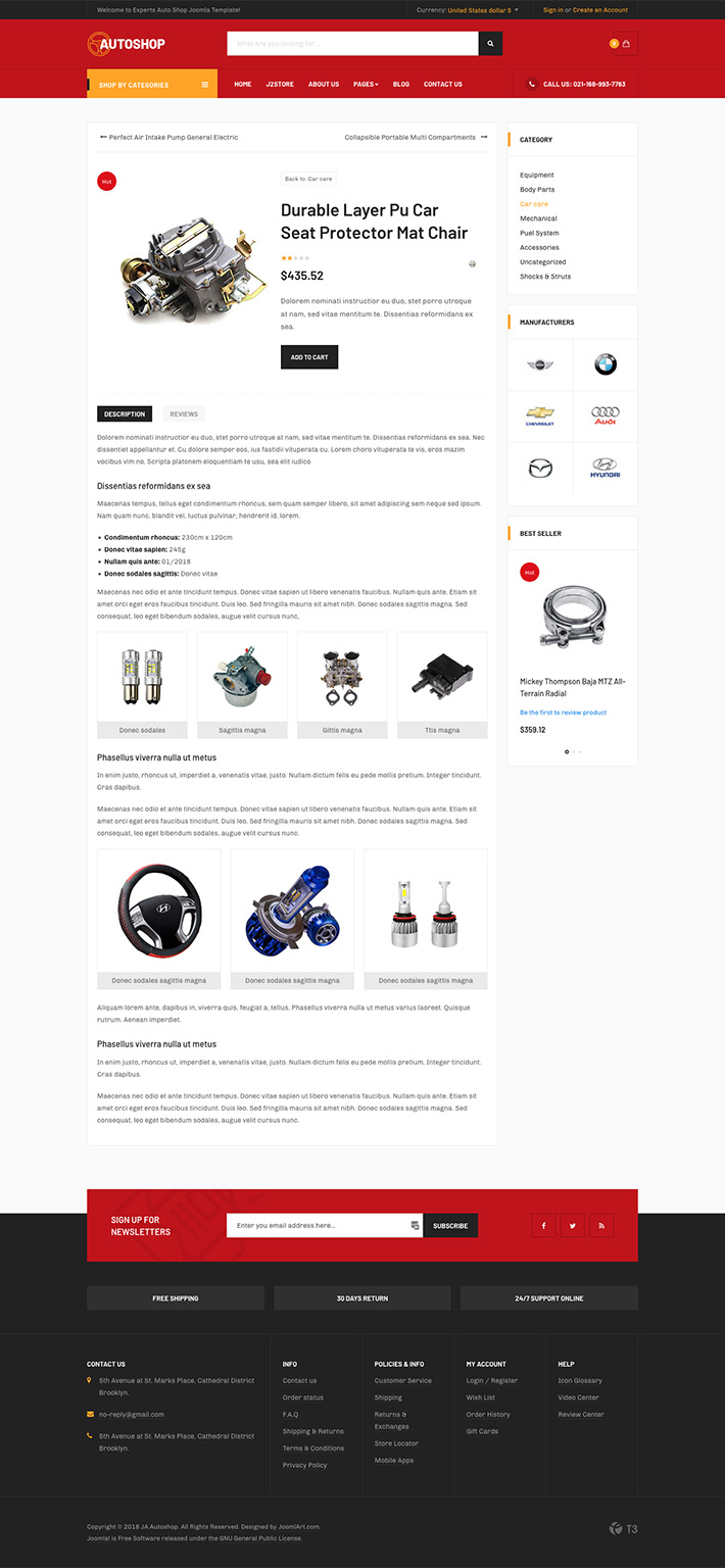eCommerce Joomla template product detail page