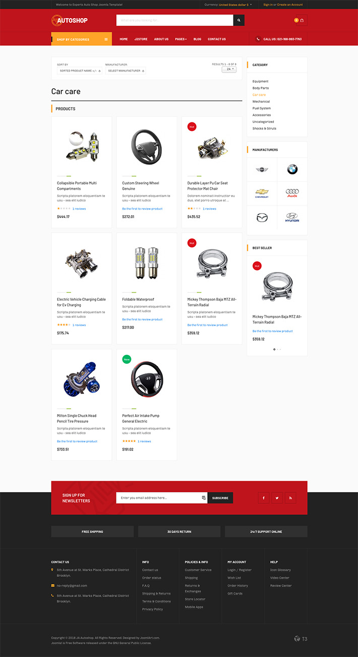 eCommerce Joomla template product list page