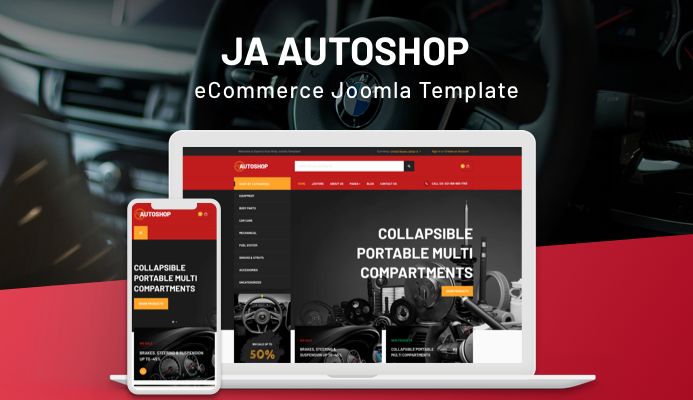 Review | Features : JA Autoshop template for eCommerce automobiles sites