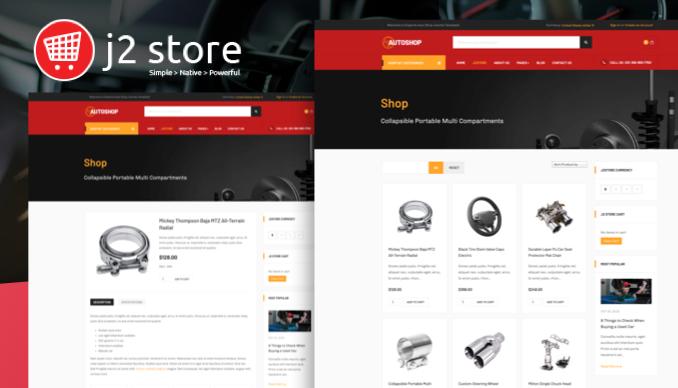 Amazing J2 Store page - JA Autoshop joomla template