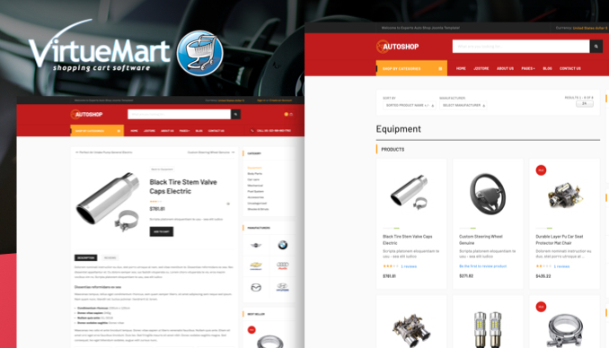 virtuemart page in eCommerce theme - JA Autoshop Joomla template