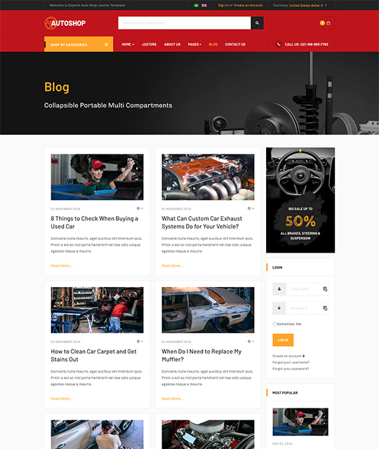 eCommerce Joomla template blog page - JA Autoshop