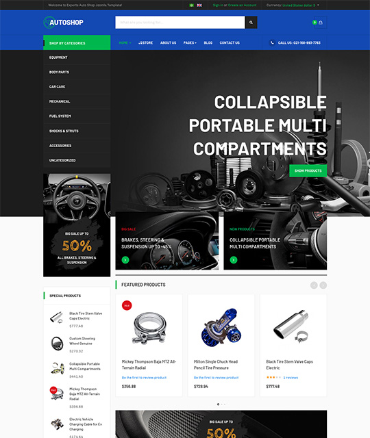 eCommerce Joomla template blue theme - JA Autoshop