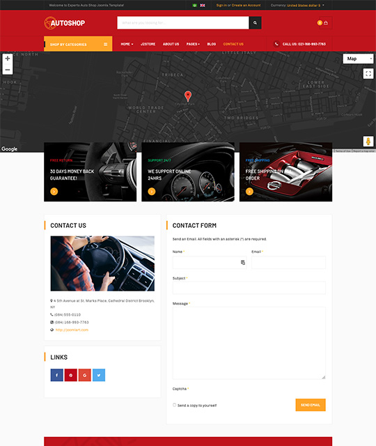 online shopping Joomla template contact page - JA Autoshop