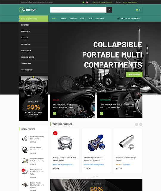 eCommerce Joomla template green theme - JA Autoshop