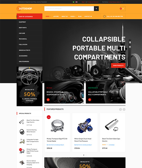 megashop Joomla template orange theme - JA Autoshop