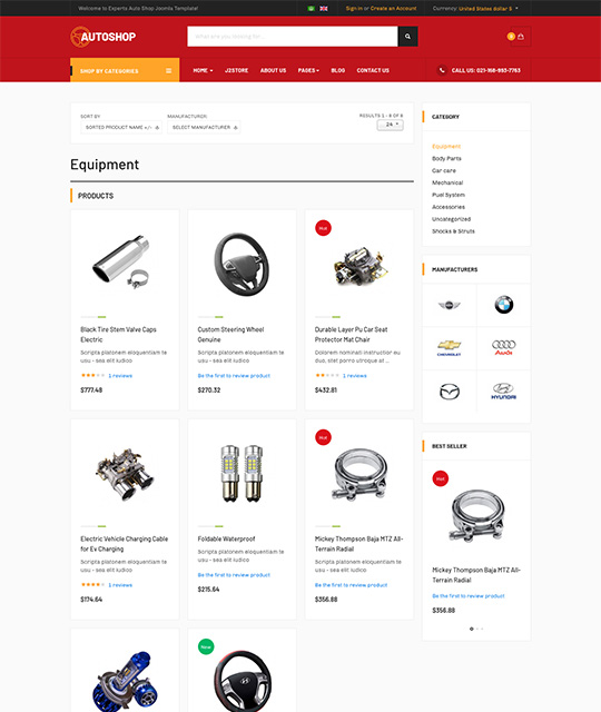 eCommerce Joomla template product list - JA Autoshop