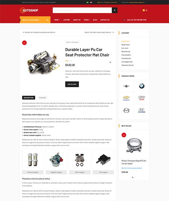 eCommerce Joomla template product detail - JA Autoshop