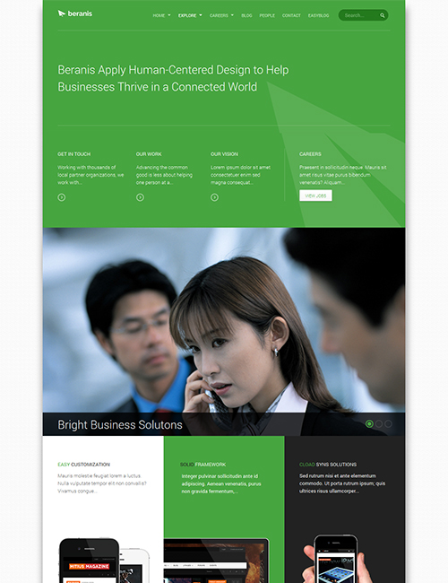 business Joomla template - JA Beranis green theme