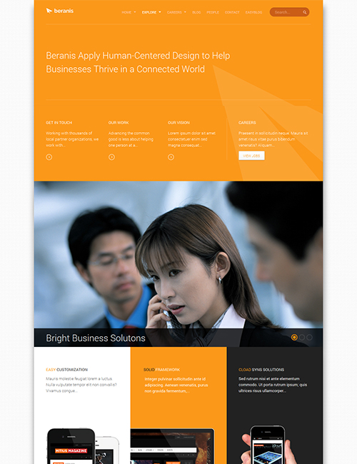 business Joomla template - JA Beranis orange theme