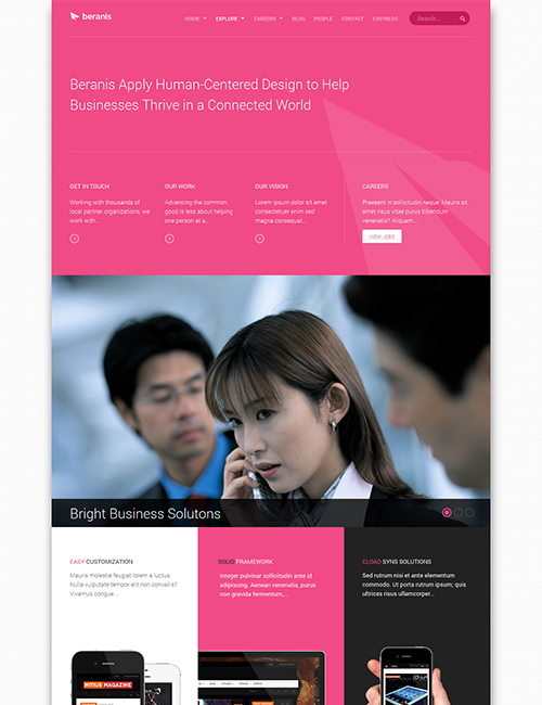 business Joomla template - JA Beranis pink theme