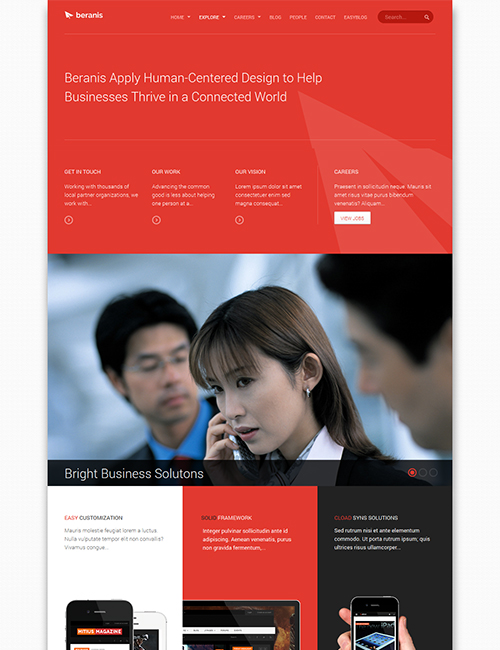 business Joomla template - JA Beranis red theme