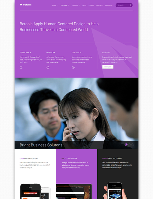 business Joomla template - JA Beranis viaolet theme