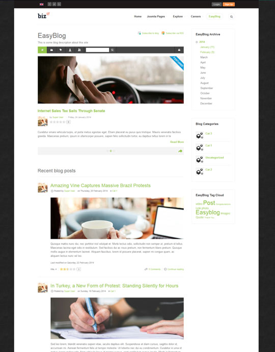 easyblog joomla template for business website - JA Biz
