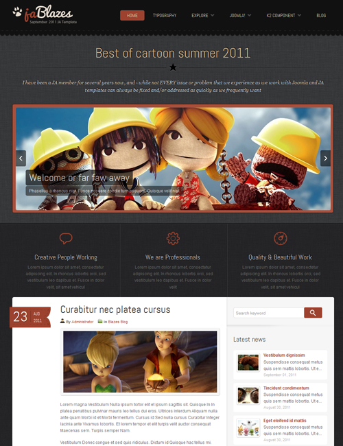 blog Joomlatemplate - JA Blazes red layout