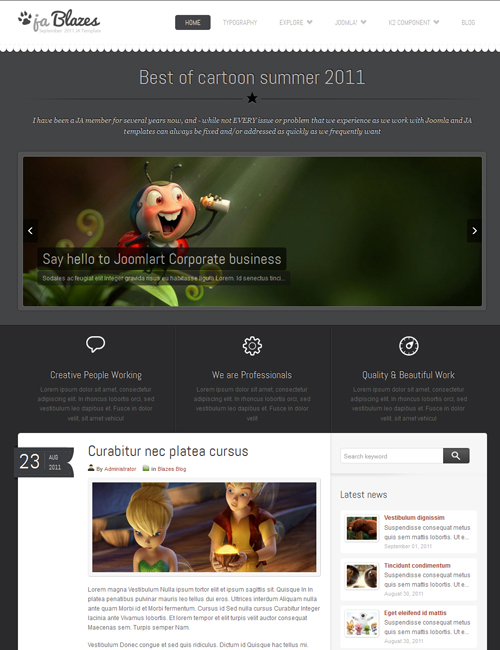 blog Joomlatemplate - JA Blazes gray theme