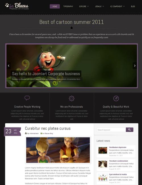 blog Joomlatemplate - JA Blazes violet theme