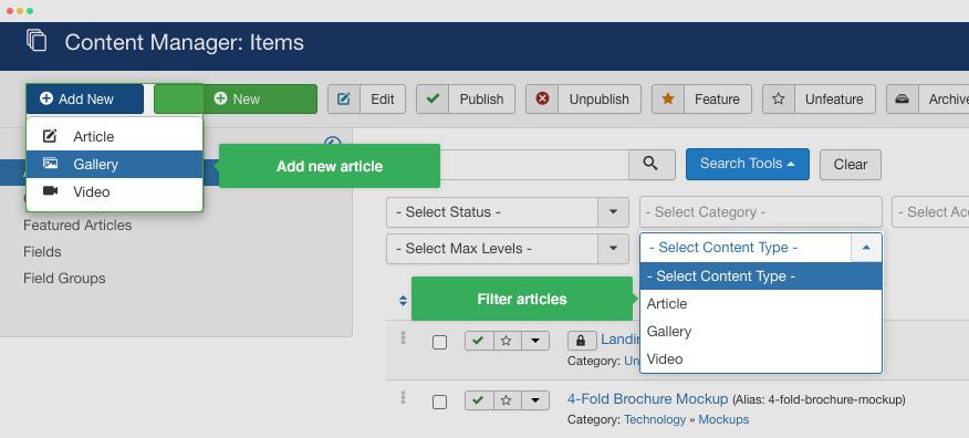 manage joomla articles