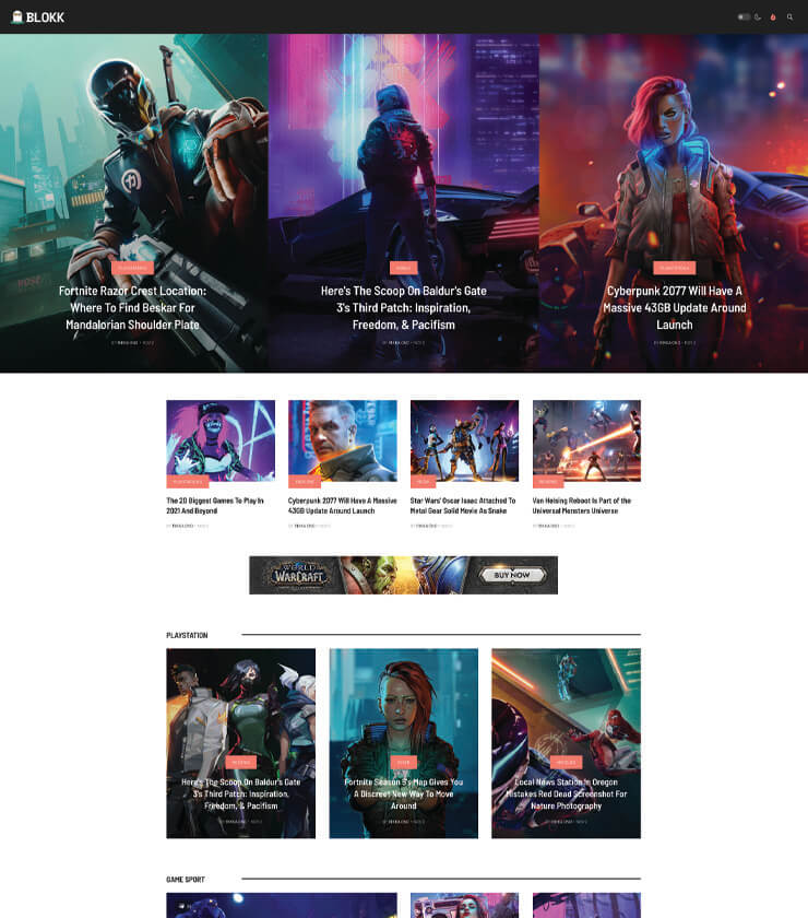 Joomla gaming magazine template