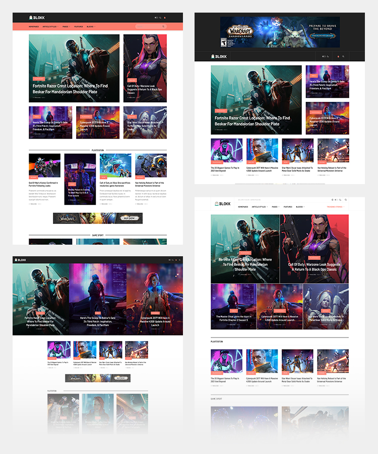 Joomla gaming template home page layouts