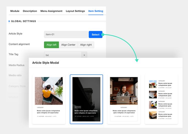 Joomla content module style settings