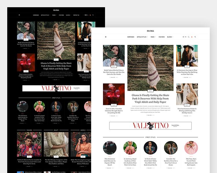 joomla magazine template dark and light theme