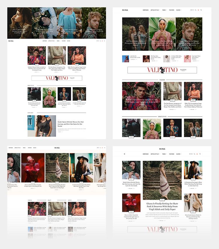 Joomla fashion magazine template home page layouts