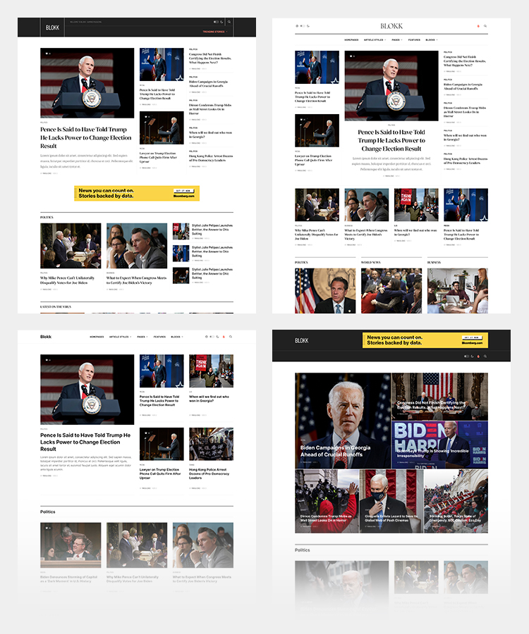 Joomla news and magazine template home page layouts