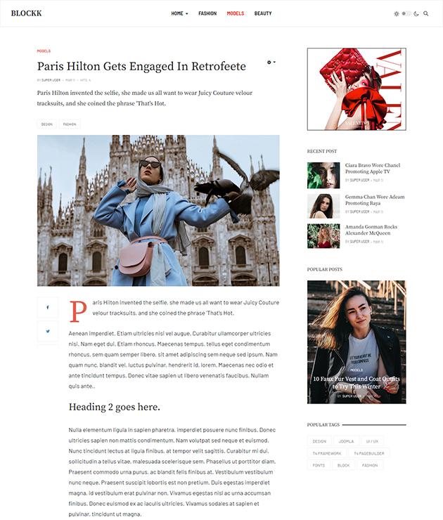 news details page Joomla template - JA Blockk