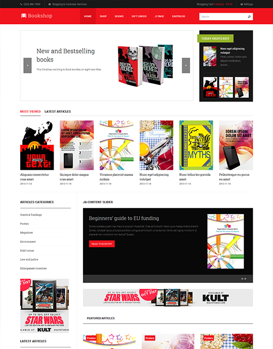 Responsive Joomla template for book store - JA Bookshop